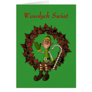 Carte de voeux polonaise de Noël Elf sur la