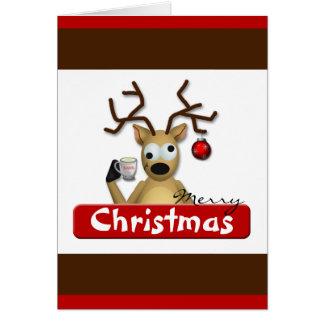 Carte de voeux pompette drôle de Noël de renne