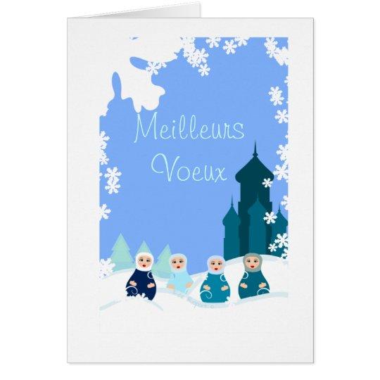 carte de voeux poupées russes bleues