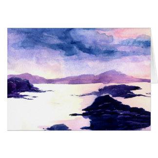 Carte de voeux pour aquarelle de peinture de loch