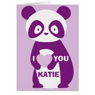 Carte de voeux pourpre de panda je t'aime (tout