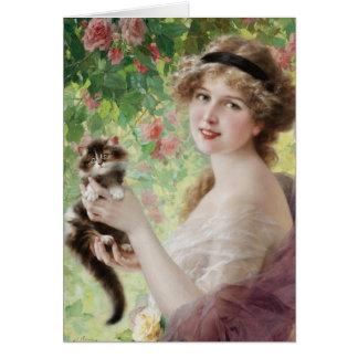 Carte de voeux précieuse de chaton d'Emile Vernon