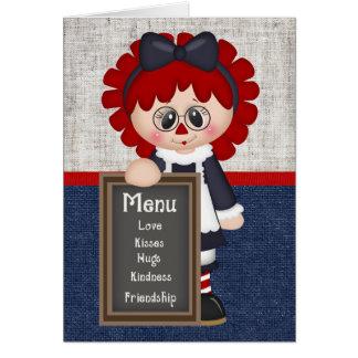 Carte de voeux Raggedy de poupée de pays adorable