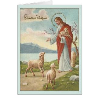 Carte de voeux religieuse italienne vintage de