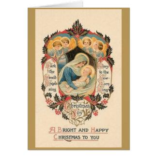 Carte de voeux religieuse vintage de Noël