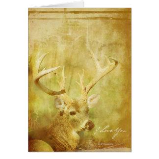 Carte de voeux romantique lavée de cerfs communs
