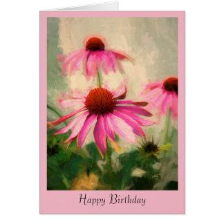 Carte de voeux rose d'anniversaire de Coneflower