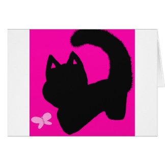 carte de voeux rose de blanc de chat