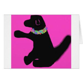carte de voeux rose de blanc de chien avec des