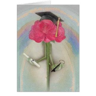 Carte de voeux rose d'obtention du diplôme de