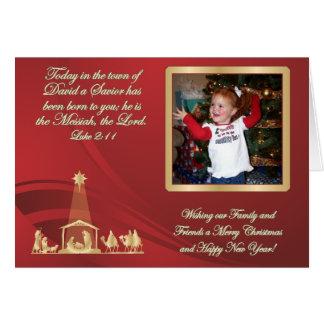 Carte de voeux rouge de photo de Noël