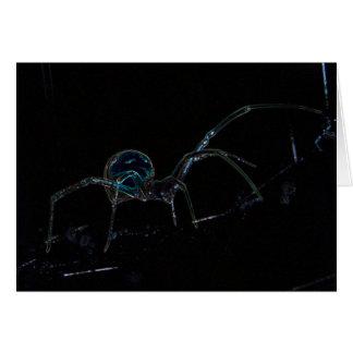 Carte de voeux rougeoyante d'araignée