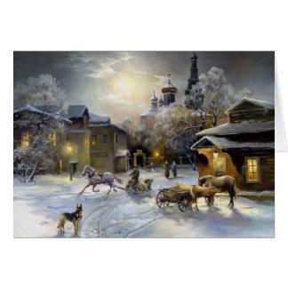 Carte de voeux russe de peinture d'hiver