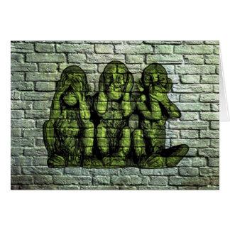 Carte de voeux sage de graffiti de trois singes
