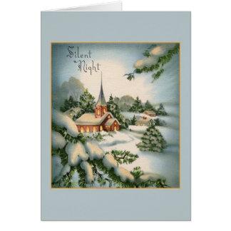 Carte de voeux silencieuse vintage de Noël de nuit