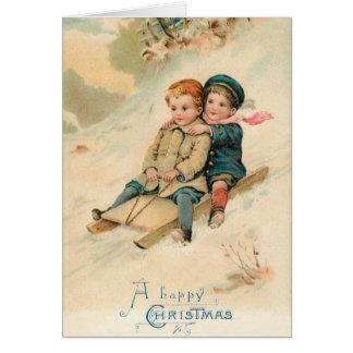 Carte de voeux Sledding victorienne de Noël