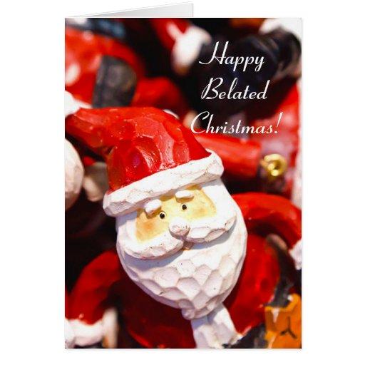 Carte de voeux tardive heureuse de père Noël de No