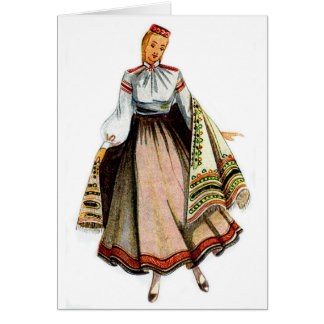Carte de voeux traditionnelle letton de costume