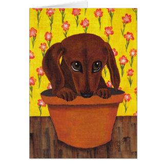 Carte de voeux trop mignonne de chien de teckel