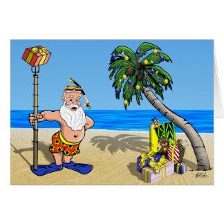 Carte de voeux tropicale de Père Noël