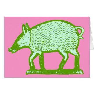 Carte de voeux verte de porc : Conception