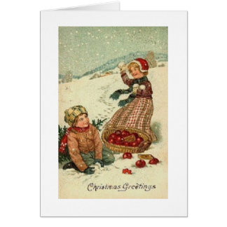 Carte de voeux victorienne de Noël de combat de