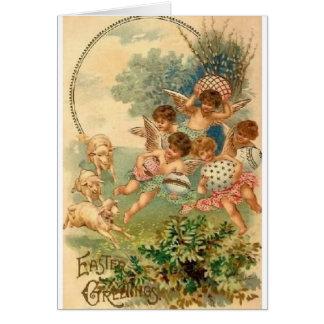 Carte de voeux victorienne de Pâques d'anges
