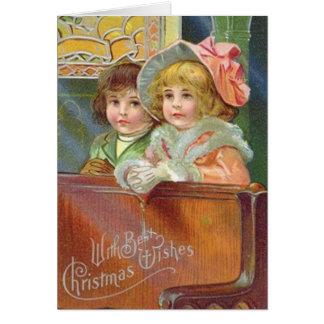 Carte de voeux victorienne d'église de Noël
