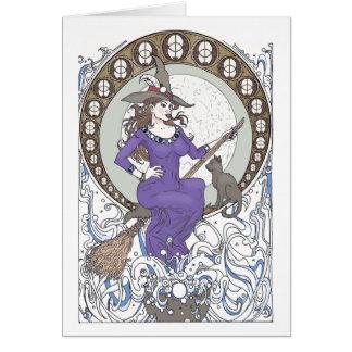 Carte de voeux vierge de Nouveau d'art de sorcière