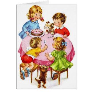 Carte de voeux vintage d'anniversaire