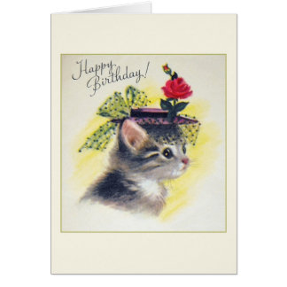 Carte de voeux vintage d'anniversaire de chat