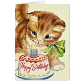 Carte de voeux vintage d'anniversaire de chaton