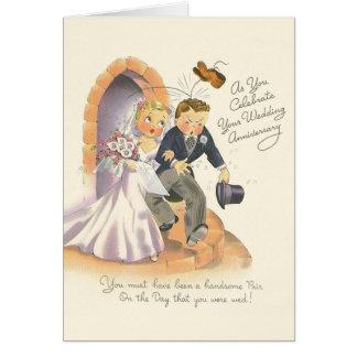 Carte de voeux vintage d'anniversaire de mariage