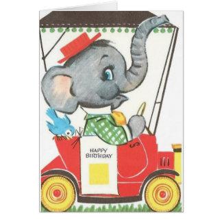 Carte de voeux vintage d'anniversaire d'éléphant