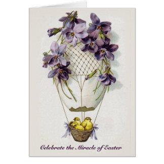 Carte de voeux vintage de ballon de lis de Pâques