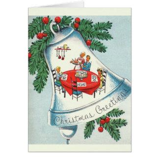 Carte de voeux vintage de Bell de dîner de Noël