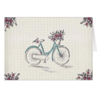 Carte de voeux vintage de blanc de bicyclette