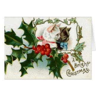 Carte de voeux vintage de chats de Noël