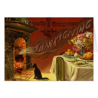 Carte de voeux vintage de dîner de thanksgiving