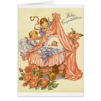 Carte de voeux vintage de félicitations de bébé