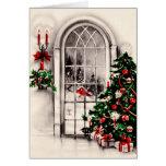 Carte de voeux vintage de fenêtre de Noël