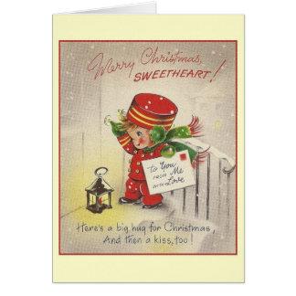 Carte de voeux vintage de Noël d'amoureux