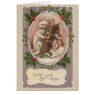 Carte de voeux vintage de Noël de chats