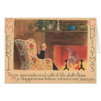 Carte de voeux vintage de Noël de cheminée