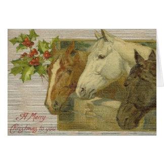 Carte de voeux vintage de Noël de chevaux