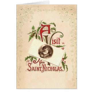 Carte de voeux vintage de Noël de Nicholas de