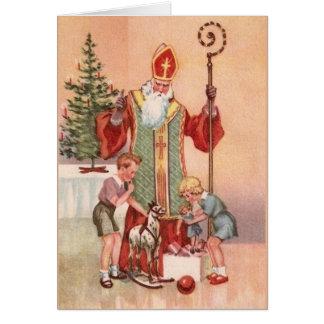 Carte de voeux vintage de Saint-Nicolas