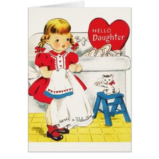 Carte de voeux vintage de Saint-Valentin de fille