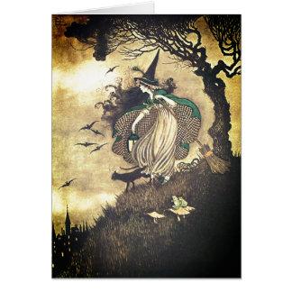 Carte de voeux vintage de sorcière de Halloween