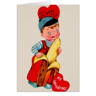 Carte de voeux vintage de Valentine de banane